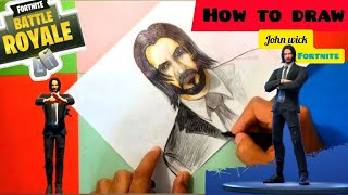 How to speed Draw John Wick Fortnite Skin -with fun dance season 9