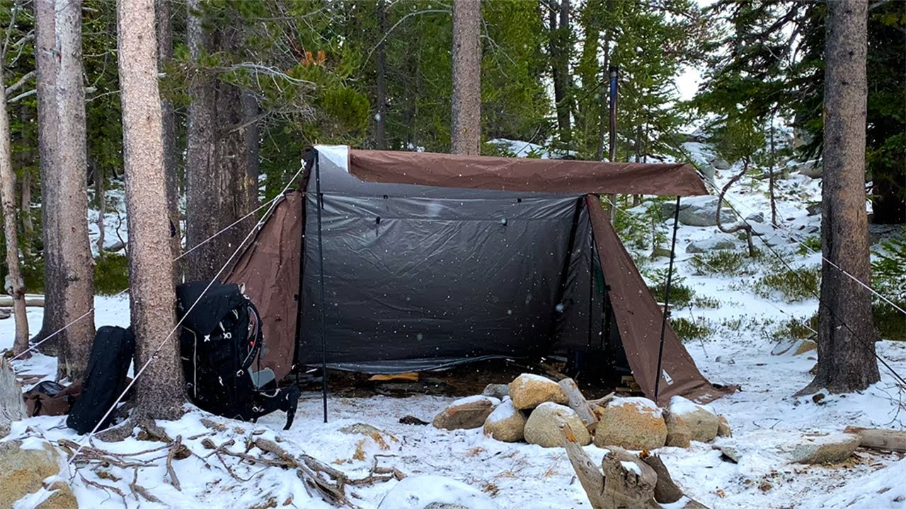 Download Hot Tent Camping in Snow | Wood Stove Pad Thai