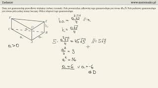 Matura 2018 - zadanie 34 - graniastosłup prawidłowy trójkątny