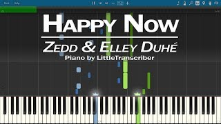 Zedd & Elley Duhé - Happy Now (Piano Cover) Synthesia Tutorial by LittleTranscriber