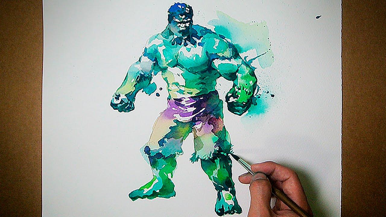 The Avengers Hulk Watercolor Painting Jayart Youtube