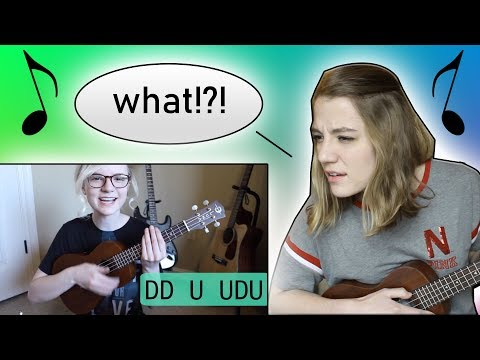 Learning ukulele from Elise Ecklund's tutorial (my sister)