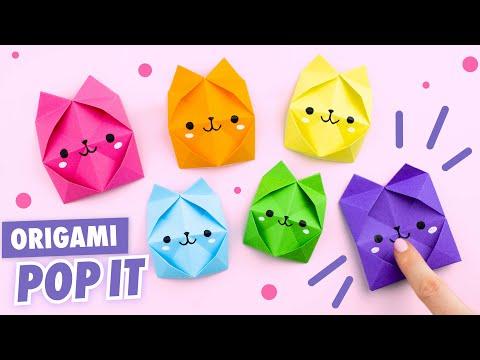 Оригами Pop It Котик из бумаги | Origami Paper Pop It  | DIY TikTok Fidget Toy | Антистресс игрушка