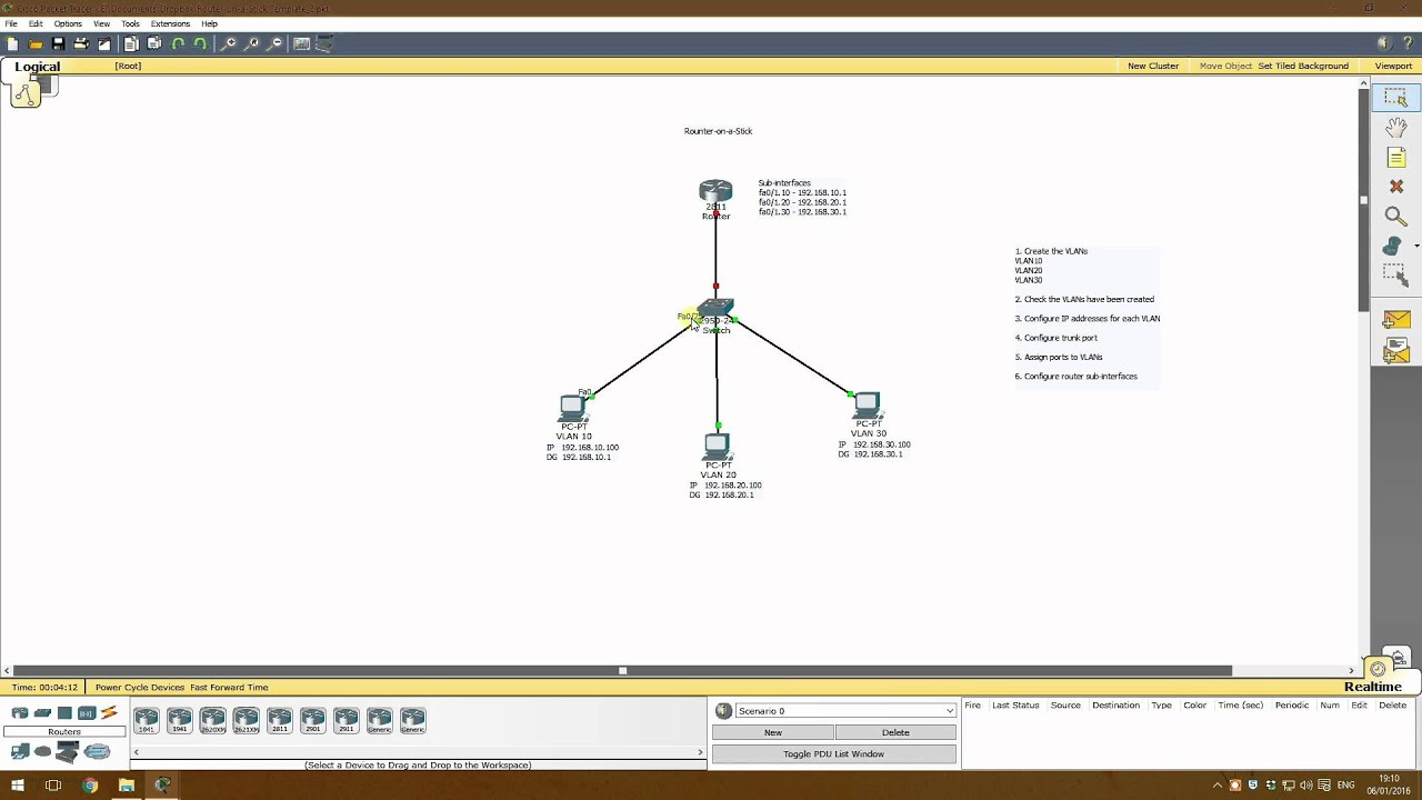 Router On A Stick Basic Tutorial Cisco Packet Tracer Youtube