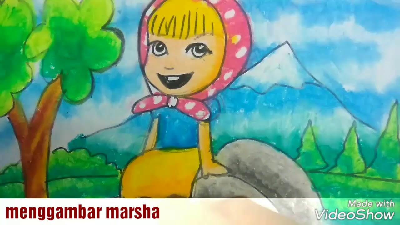 Keren deh Cara menggambar dan mewarnai marsha dengan oil pastel