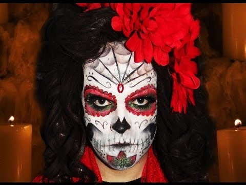 Sugar Skull Mexican Day Of The Dead Makeup Tutorial Youtube