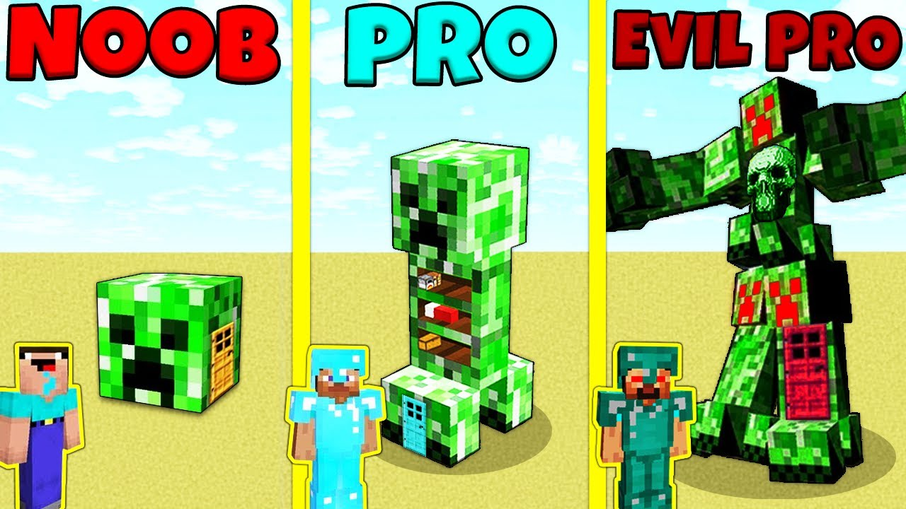 Minecraft Battle: NOOB vs PRO vs EVIL PRO: CREEPER HOUSE BUILD CHALLENGE / Animation