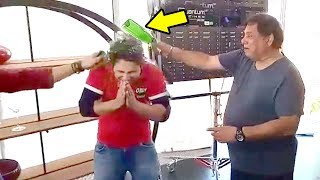 Varun Dhawan's Father's Breaking Glass Bottles On Sons Head During Judwa 2 Shoot