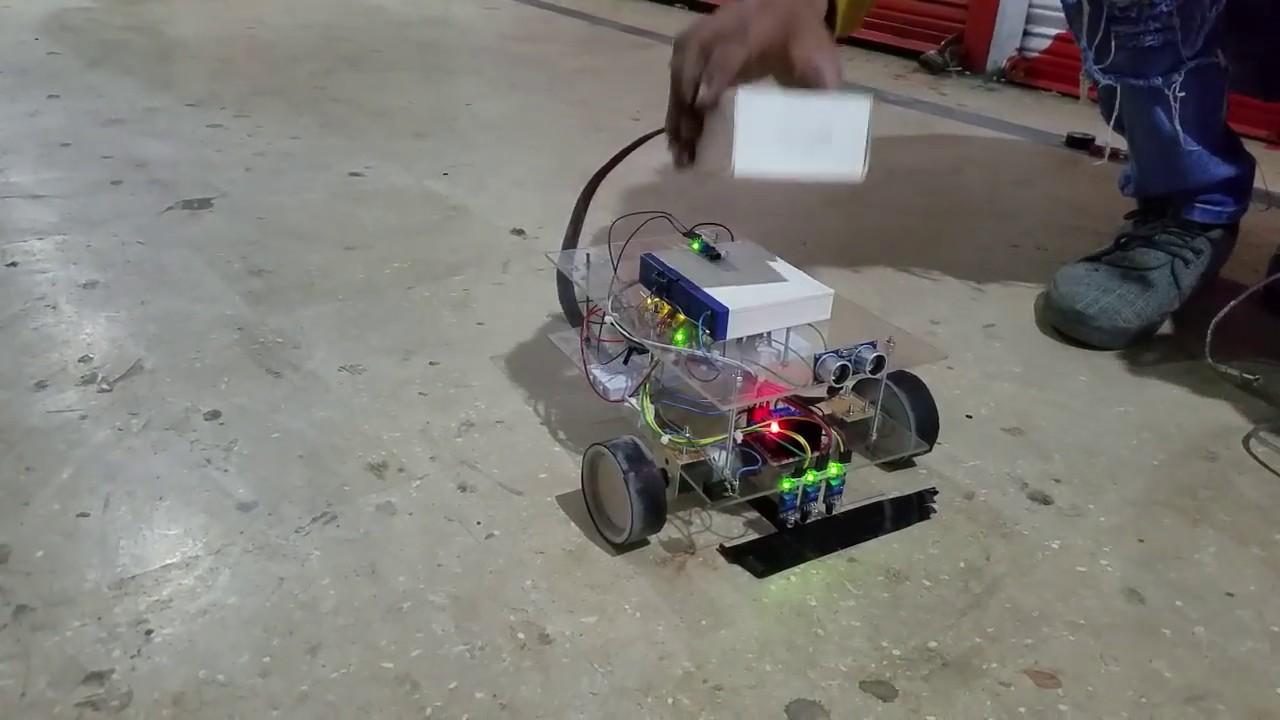 Line Follower Robot using Arduino UNO, Ultrasonic sensor, IR sensor and  L298 motor driver