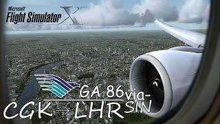Boeing 777   Garuda Indonesia GA 86   Singapore to London Heathrow [FSX HD]