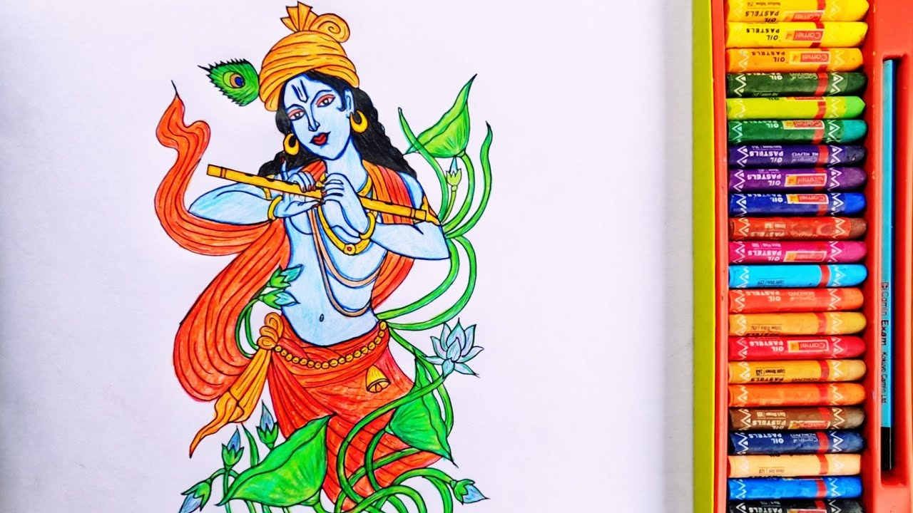 Time-lapse Painting Of Lord Krishna   Drawing Of God Krishna   By Drawing Art
