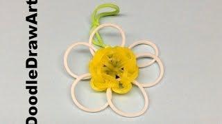 Craft:  Rainbow Loom Daisy Flower Charm Pattern - Step by Step tutorial