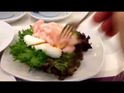 The Food Emperor eats a räkmacka at Karl Fazer Cafe, Helsinki, Finland