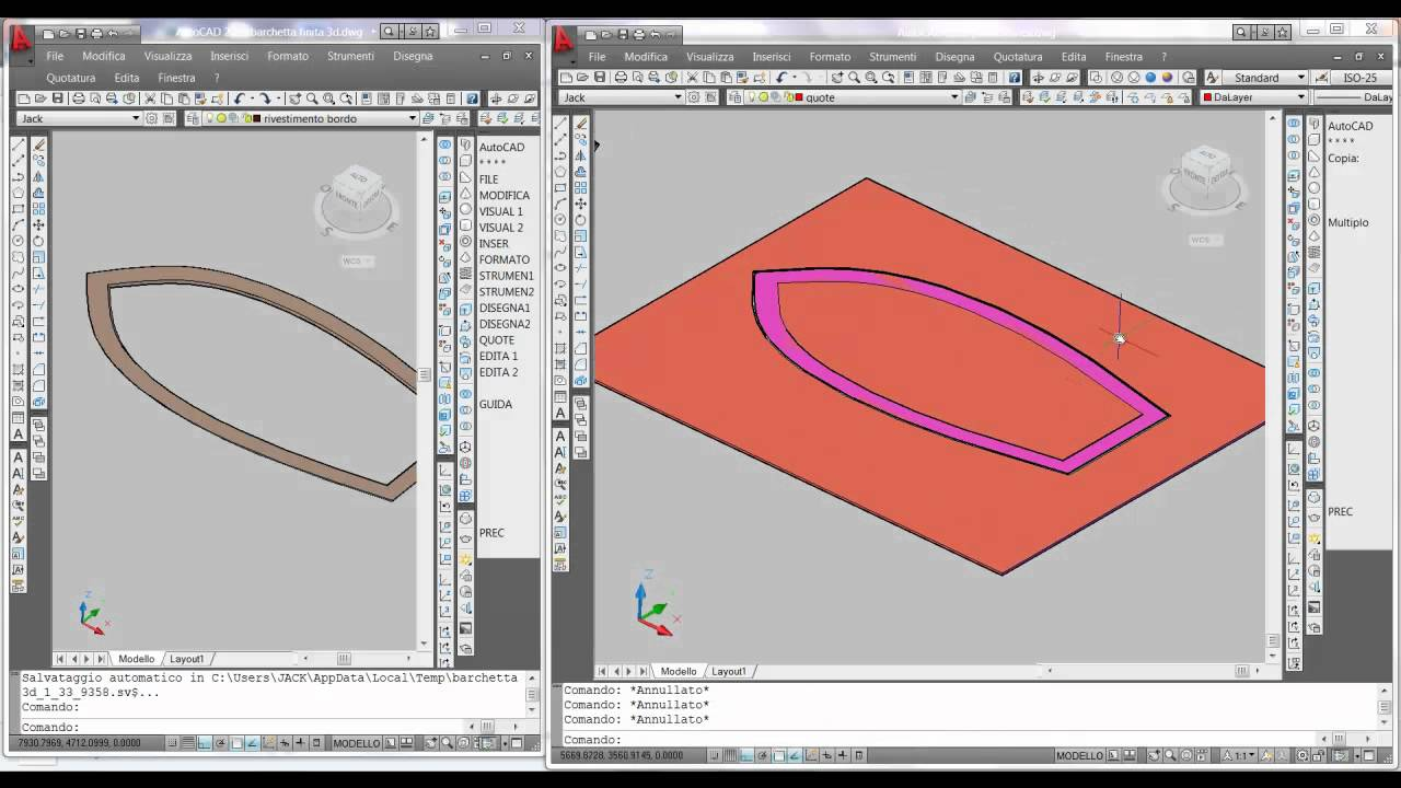 Come costruire una barca 3d con autocad parte 1 di for Costruzione di disegni online