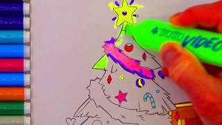 Раскрашиваем Новогоднюю елочку Бабушкины Сказки
