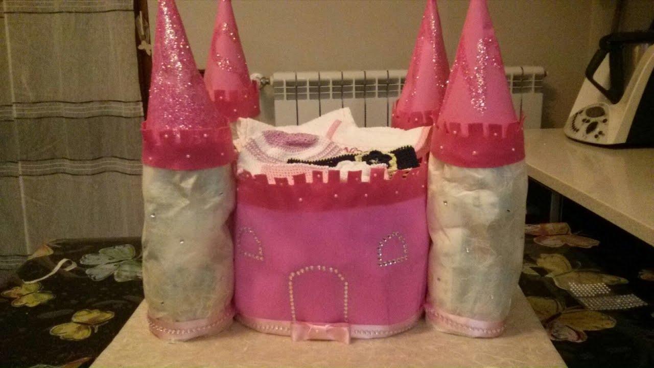 abbastanza Torta di pannolini-come realizzare un castello - YouTube VL32