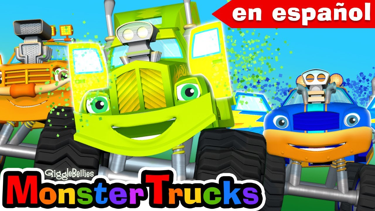 Ruedas en el autobús (camión) Canción infantil + Dibujos animados de los monster trucks