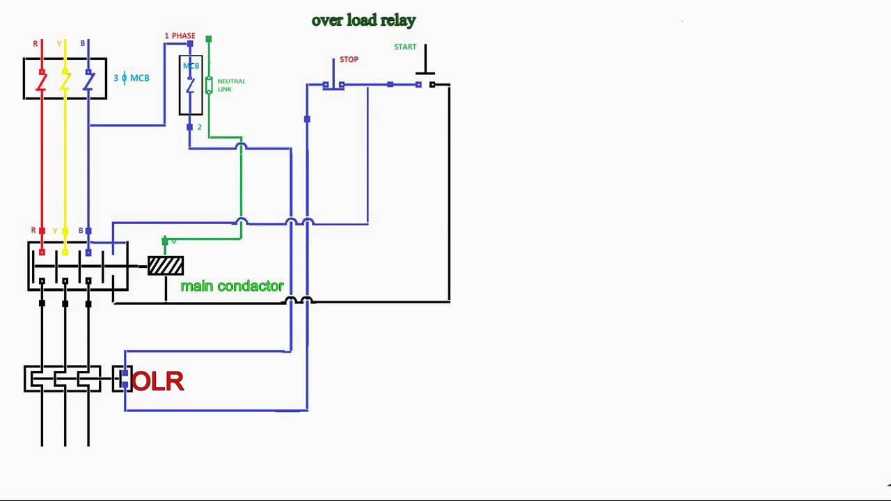 Direct Online Starter Wiring Diagram Esp Ltd Diagrams How To Work Over Load Relay - Youtube