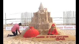 International sand artist Manas Kumar Sahoo has created a sand sculptor on the golden sea beach