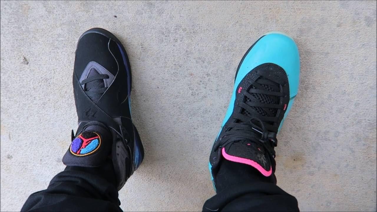differently dc907 0cd51 Air Jordan Aqua 8 VS Nike Lebron South Beach VIII Sneakers #PickOne  Tuesday's Battle With Dj Delz