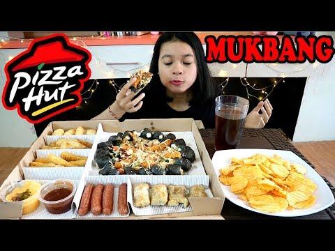 MUKBANG BIG BOX PIZZA HUT (PRAWN OKOYAKI - BLACK PIZZA) / MUKBANG INDONESIA