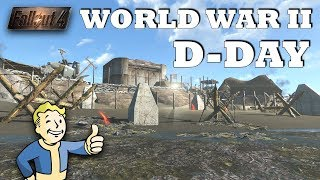 Fallout 4 - World War 2, D-Day Nazi Germany Base | Omaha Beach Normandy! Modded Building