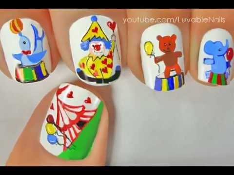 carnival circus clown nail art