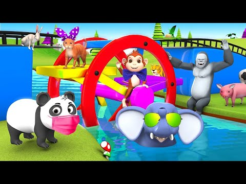 Funny Animals Play with Ferry Wheel Water Toy in Water to Cross the River | 3D Animated Funny Videos