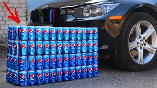EXPERIMENT: CAR vs 100 PEPSI Cans