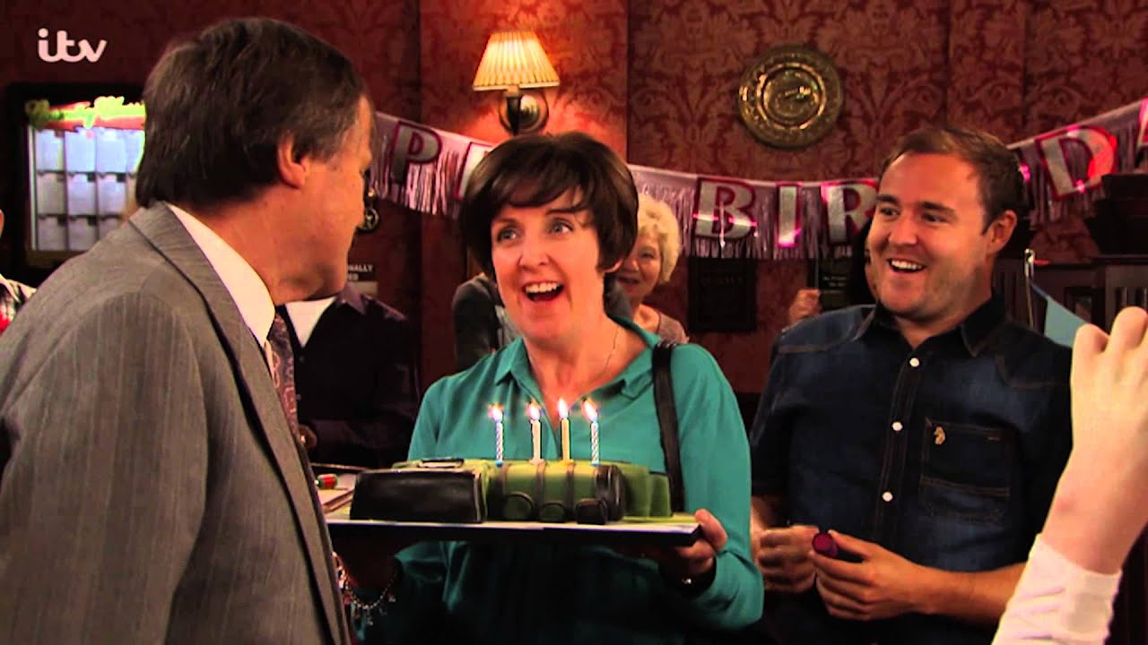 Coronation Street Roy Blows Out His Birthday Candles