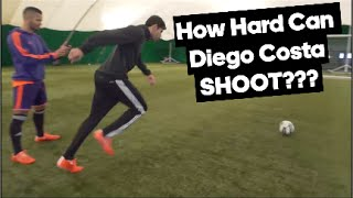 Diego costa's shot power tested with the adidas smart ball!