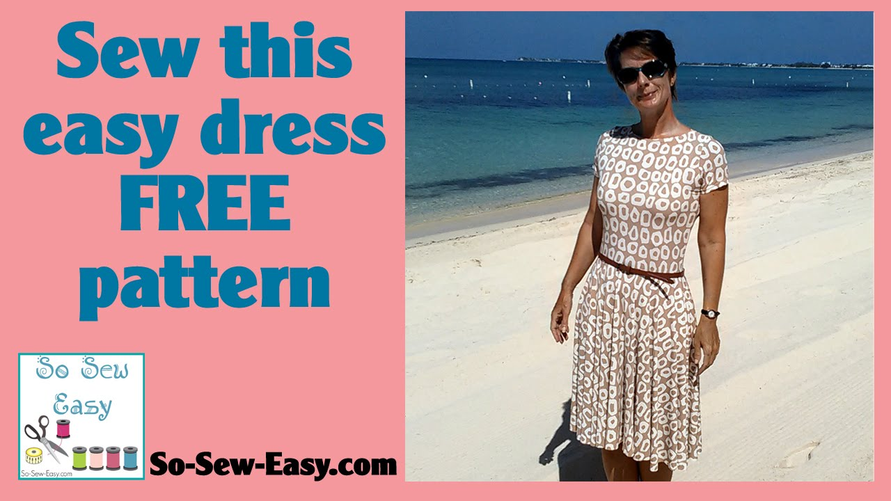 Sew this easy knit dress with circle skirt - YouTube