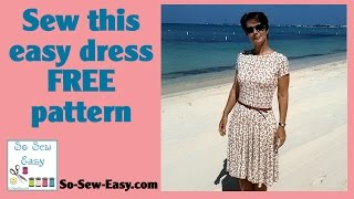 Sew this easy knit dress with circle skirt