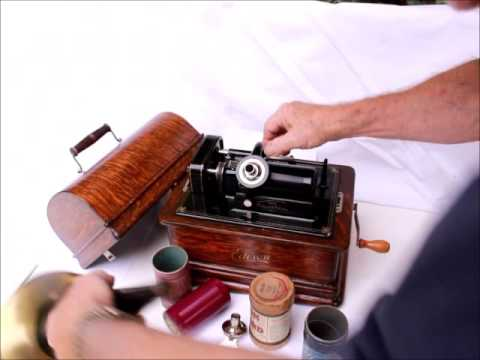 1908 Edison Standard D Combination Cylinder Phonograph with Horn and C + H Reproducers