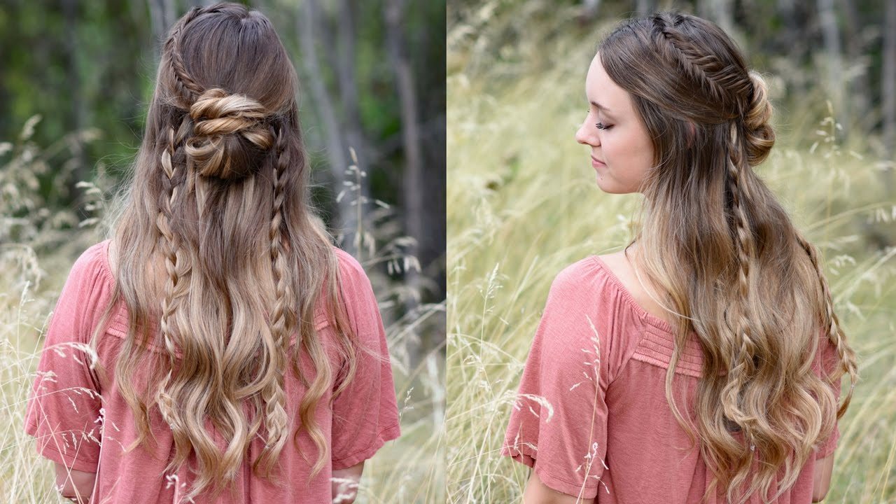Half Up Half Down Bun Combo Hairstyle Cute Girls Hairstyles Youtube