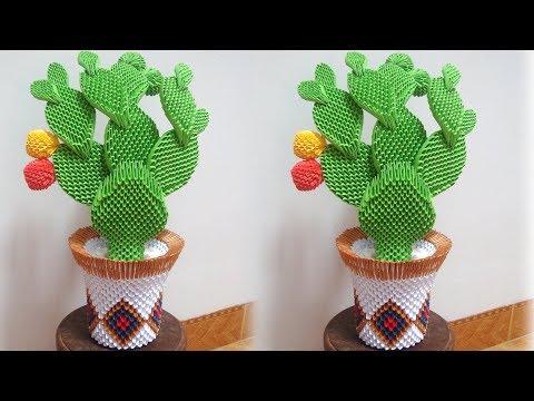 3D Origami Cactus, Nopal Cactus Tutorial   DIY Paper Cactus Tutorial