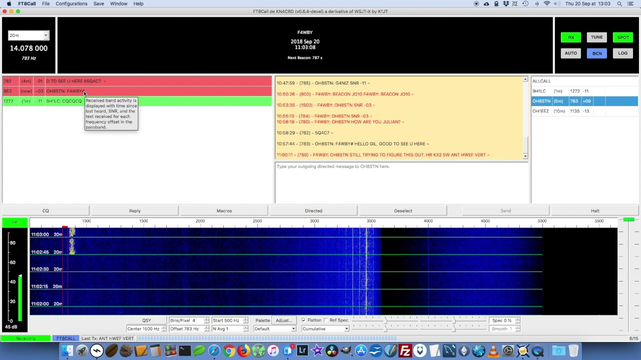 FT8Call Digital Radio Contact With Julian OH8STN