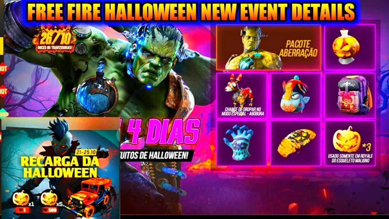 Free Fire Halloween Event Full Details Free Fire Upcoming New Event Youtube