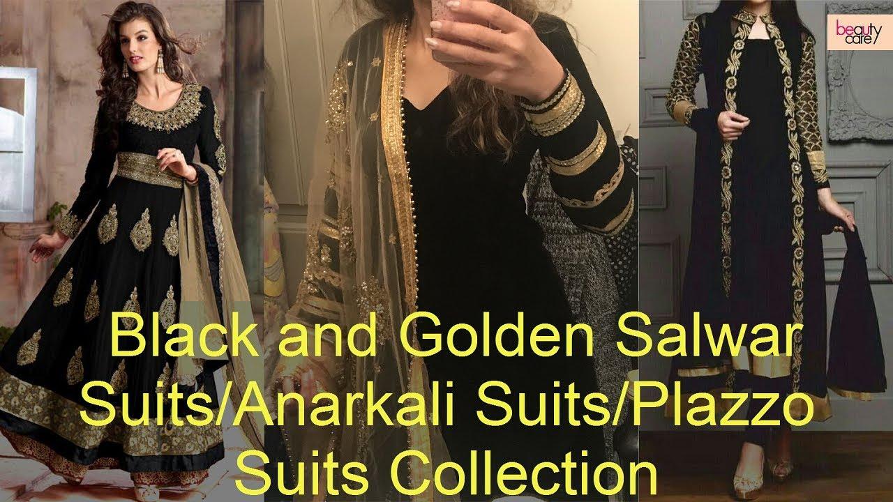 d3f4469d2 Black and Golden Color Combination Salwar Suits/Anarkali/Plazo Suits  Designs Collection