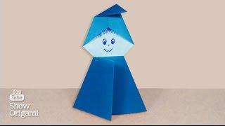 детское оригами Гном из бумаги