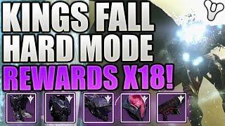 Destiny : KINGS FALL HARD MODE RAID REWARDS X18! Legendary Armour & Gear! (Loot Video)