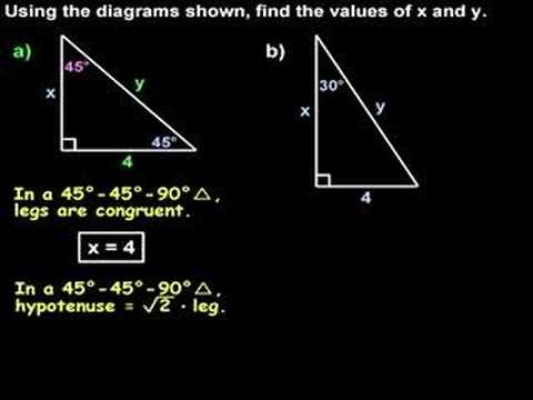 Special Right Triangles - 30 60 90 and 45 45 90 Triangles - YouTube
