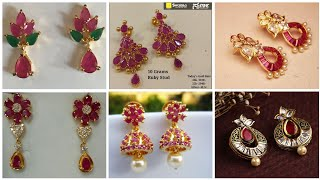 Top Trending And Classy Ruby Earrings/ Short and Long Length Gold Ruby Earrings Collection part 7