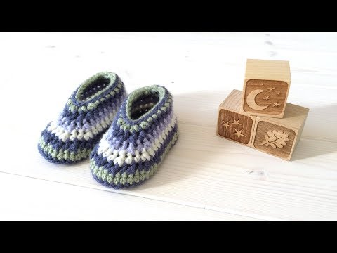 How to crochet cute striped baby shoes / booties for beginners