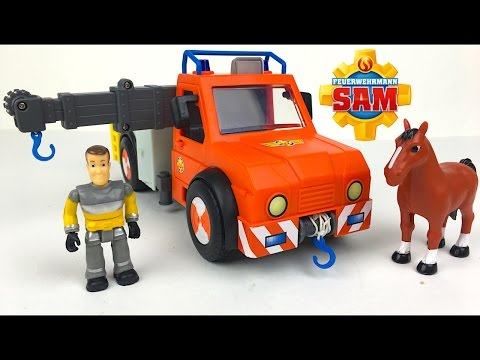 UNBOXING FIREMAN SAM - PHOENIX RESCUE CRANE TRUCK & STORY WITH FIREMAN SAM AND A TRAPPED HORSE