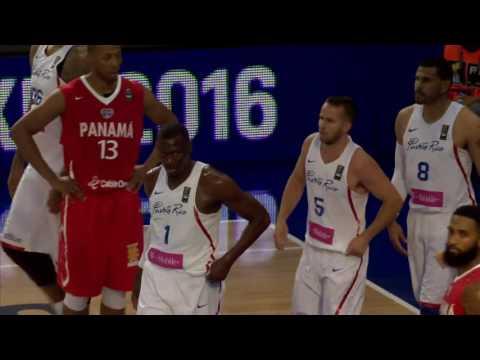 Segundo cuarto de Panamá 28 - 18 Puerto Rico del Centrobásket - 2016