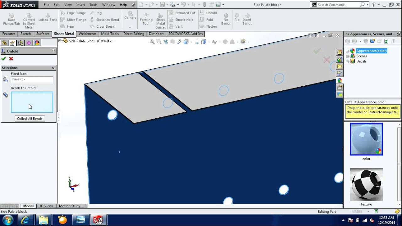 Solidworks 2015 Sheet Metal Fold And Unfold Youtube