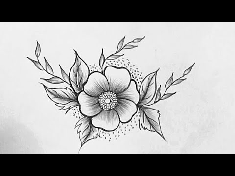 How To Draw A Beautiful Flower Easy Flower Drawing With Pencil Pencil Sketching Youtube