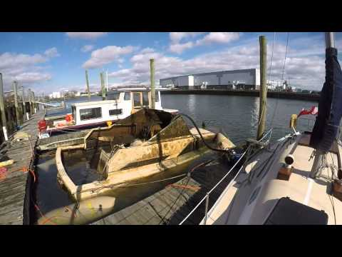 Boat Salvage using dry suit in Bridgeport, CT