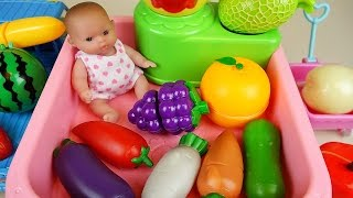 Baby Doll fruit vegetable wash and cutting kitchen toys
